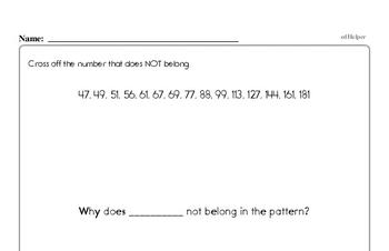 Enrichment Pattern Math Problems Book - What doesn't belong?