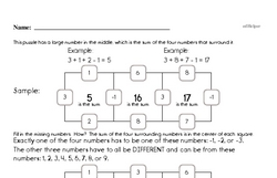 Math Skills and Problems Square Math Puzzle (easier)