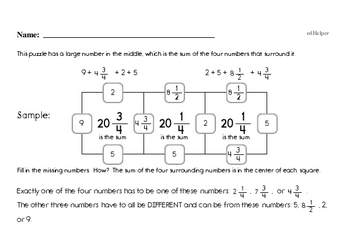 Fractions - Adding Fractions Mixed Math PDF Workbook for Fourth Graders