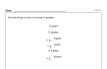 Fractions - Comparing Fractions Mixed Math PDF Workbook for Fourth Graders