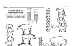 Fourth Grade Fractions Worksheets - Comparing Fractions Worksheet #1