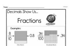 Fourth Grade Fractions Worksheets - Decimal Fractions Worksheet #1