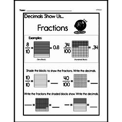 Fractions - Decimal Fractions Mixed Math PDF Workbook for Fourth Graders