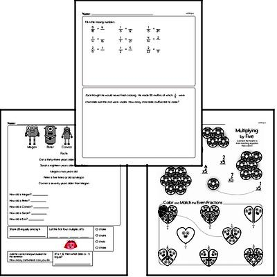 Fractions - Equivalent Fractions Mixed Math PDF Workbook for Fourth Graders