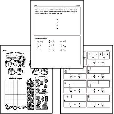 Fractions - Equivalent Fractions Workbook (all teacher worksheets - large PDF)