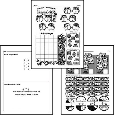 Fractions - Fractions and Equivalence Mixed Math PDF Workbook for Fourth Graders