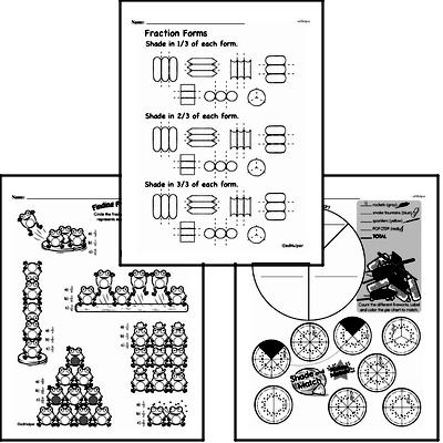 Fractions - Fractions and Parts of a Set Mixed Math PDF Workbook for Fourth Graders