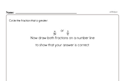 Fractions - Fractions on a Number Line Mixed Math PDF Workbook for Fourth Graders