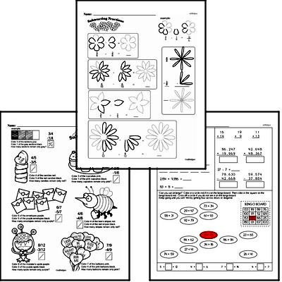 Fractions - Subtracting Fractions Mixed Math PDF Workbook for Fourth Graders