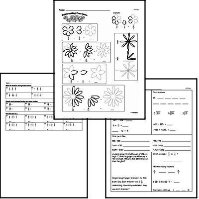 Fractions - Subtracting Fractions Workbook (all teacher worksheets - large PDF)