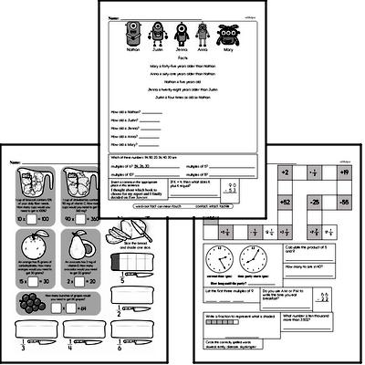 Fractions Mixed Math PDF Workbook for Fourth Graders