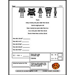 Free Fraction PDF Math Worksheets Worksheet #207