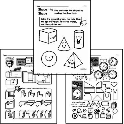 Geometry - 3D Shapes Workbook (all teacher worksheets - large PDF)