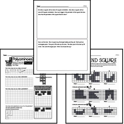 Geometry - Area Mixed Math PDF Workbook for Fourth Graders