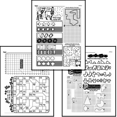 Geometry - Graphing Points on a Coordinate Plane Mixed Math PDF Workbook for Fourth Graders