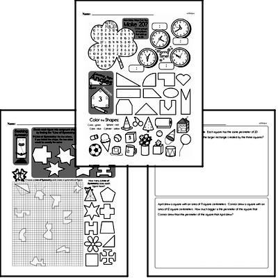 Geometry Mixed Math PDF Workbook for Fourth Graders