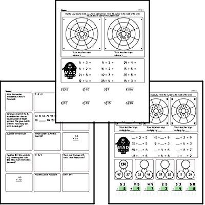 Addition, Subtraction, Multiplication, and Division Mad Minute Timed Addition Math Drill Pages for Fourth Graders