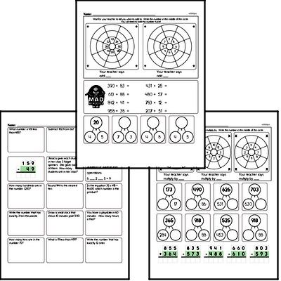 Addition, Subtraction, and Multiplication Mad Minute Timed Addition Math Drill Pages for Fourth Graders