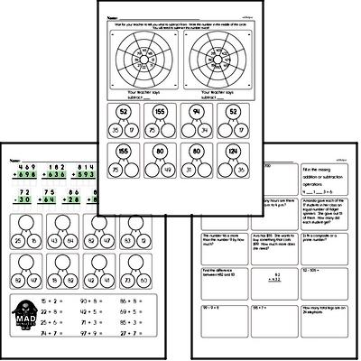 Addition and Subtraction Mad Minute Timed Addition Math Drill Pages for Fourth Graders
