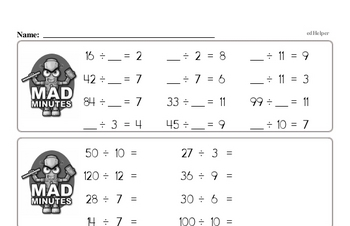 Division Mad Minute Timed Addition Math Drill Pages for Fourth Graders