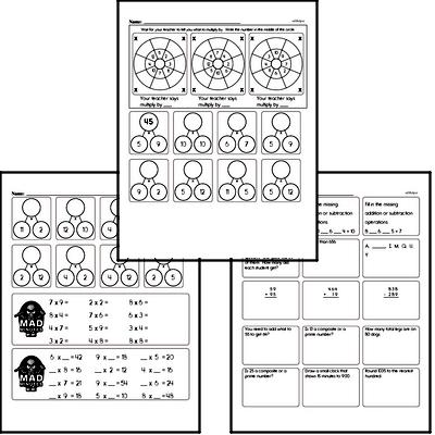 Multiplication Mad Minute Timed Addition Math Drill Pages for Fourth Graders