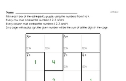 Fourth Grade Math Challenges Worksheets - Puzzles and Brain Teasers Worksheet #13