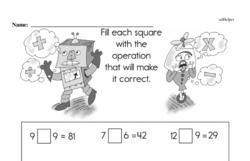 Fourth Grade Math Facts Practice Worksheets Worksheet #1