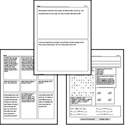 Math Word Problems - Fraction Word Problems Workbook (all teacher worksheets - large PDF)