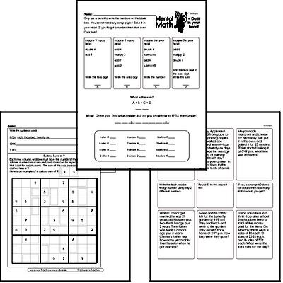 Math Word Problems - Mixed Operations Math Word Problems Mixed Math PDF Workbook for Fourth Graders