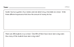 Fourth Grade Math Word Problems Worksheets - Single Step Math Word Problems Worksheet #2