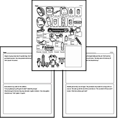 Measurement - Measurement Word Problems Mixed Math PDF Workbook for Fourth Graders