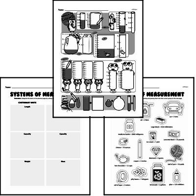 Measurement - Systems of Measurement Mixed Math PDF Workbook for Fourth Graders