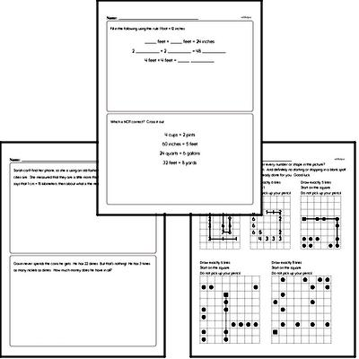 Measurement - Units of Measurement Mixed Math PDF Workbook for Fourth Graders