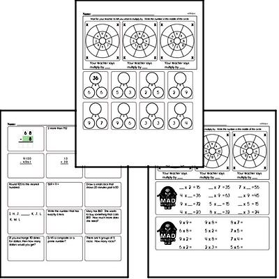 Multiplication Facts Mad Minute Worksheets (multiply by 2 to 9)