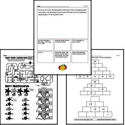 Multiplication Mixed Math PDF Workbook for Fourth Graders