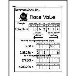 Fourth Grade Number Sense Worksheets - Decimal Numbers Worksheet #1