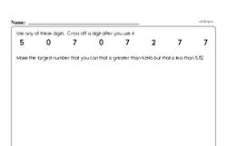 Fourth Grade Number Sense Worksheets - Multi-Digit Numbers Worksheet #1