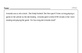 Number Sense - Solving Basic Algebraic Equations Mixed Math PDF Workbook for Fourth Graders