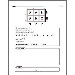 Fourth Grade Number Sense Worksheets - Solving Basic Algebraic Equations Worksheet #9