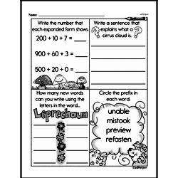 Fourth Grade Number Sense Worksheets - Three-Digit Numbers Worksheet #21