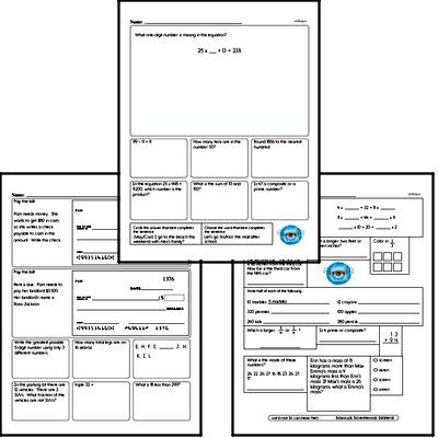 Number Sense - Three-Digit Numbers Mixed Math PDF Workbook for Fourth Graders