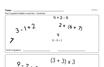 Order of Operations Math Facts Book