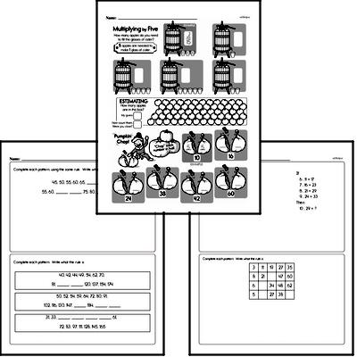 Patterns Mixed Math PDF Workbook for Fourth Graders