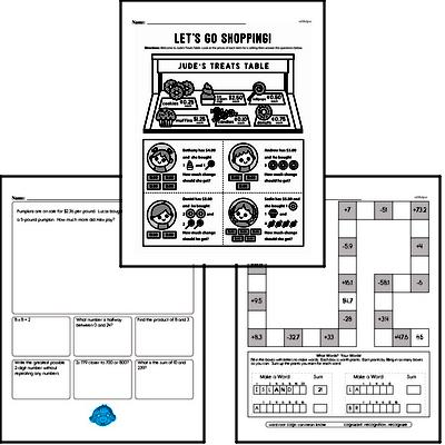 Subtraction - Subtraction with Decimal Numbers Workbook (all teacher worksheets - large PDF)