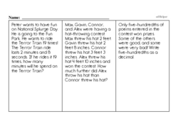 Fourth Grade Subtraction Worksheets - Subtraction with Decimal Numbers Worksheet #2