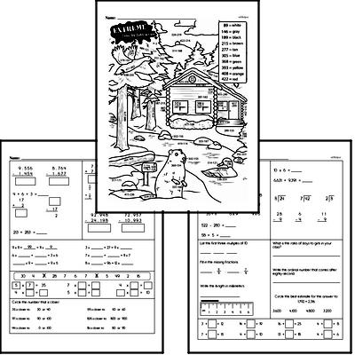 Subtraction - Three-Digit Subtraction Mixed Math PDF Workbook for Fourth Graders