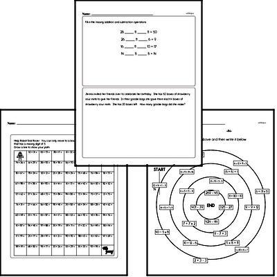 Subtraction - Two-Digit Subtraction Workbook (all teacher worksheets - large PDF)