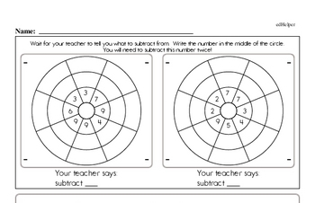 Subtraction Facts Mad Minute Worksheets (subtraction of 1 digit from 2-digits)
