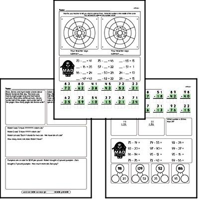 Subtraction Facts Mad Minute Worksheets (subtraction of 2-digits from 2-digits)