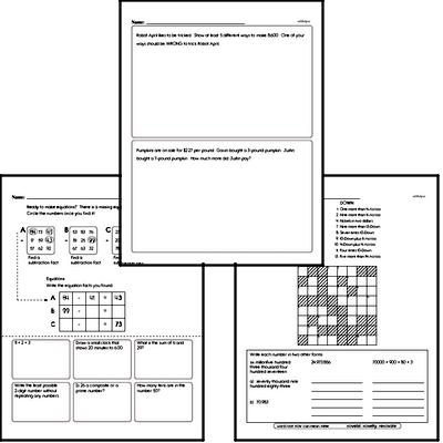 Subtraction Mixed Math PDF Workbook for Fourth Graders